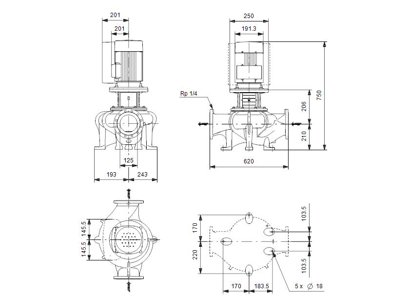Габаритные размеры насоса Grundfos TPE 125-60/4-S-A-F-A-BQQE 3X400 50HZ артикул: 99114752