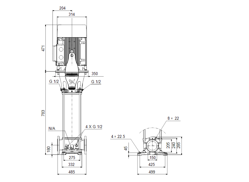 Габаритные размеры насоса Grundfos CR 155-1-1 A-F-A-E-HQQE артикул: 99143254