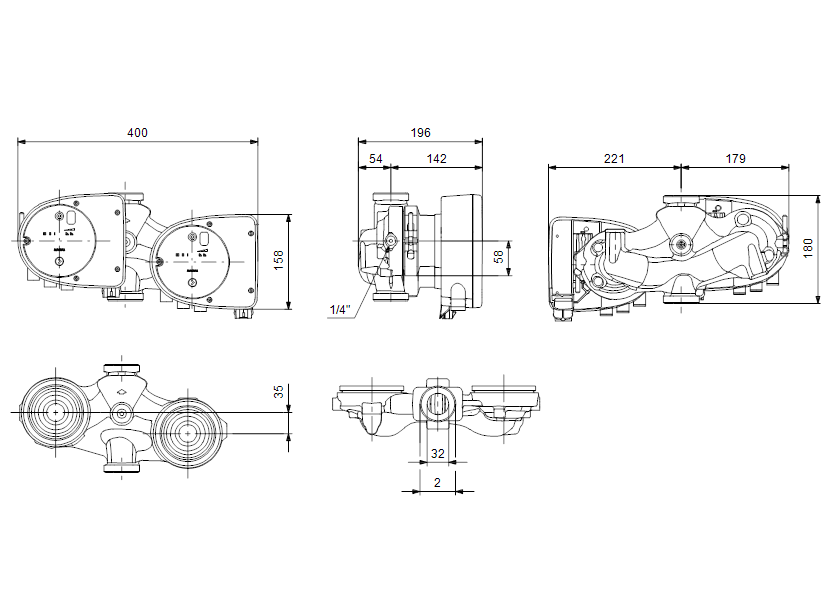 Габаритные размеры насоса Grundfos MAGNA1 D 32-40 артикул: 99221238
