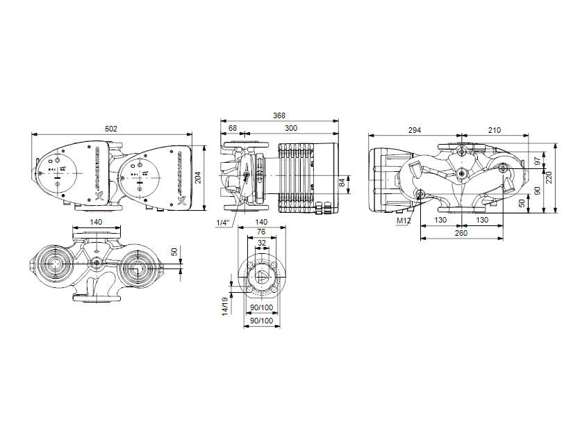 Габаритные размеры насоса Grundfos MAGNA1 D 32-120 F артикул: 99221286