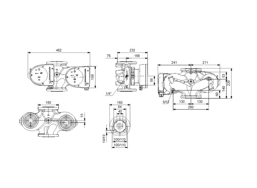 Габаритные размеры насоса Grundfos MAGNA1 D 40-60 F артикул: 99221294