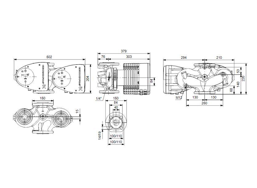 Габаритные размеры насоса Grundfos MAGNA1 D 40-100 F артикул: 99221309