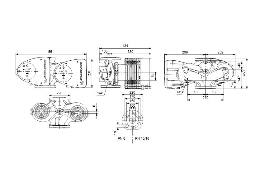 Габаритные размеры насоса Grundfos MAGNA1 D 100-100 F артикул: 99221456