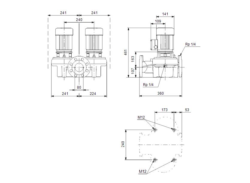 Габаритные размеры насоса Grundfos TPD 80-30/4-A-F-A-BQBE 400Y 50HZ артикул: 99222186