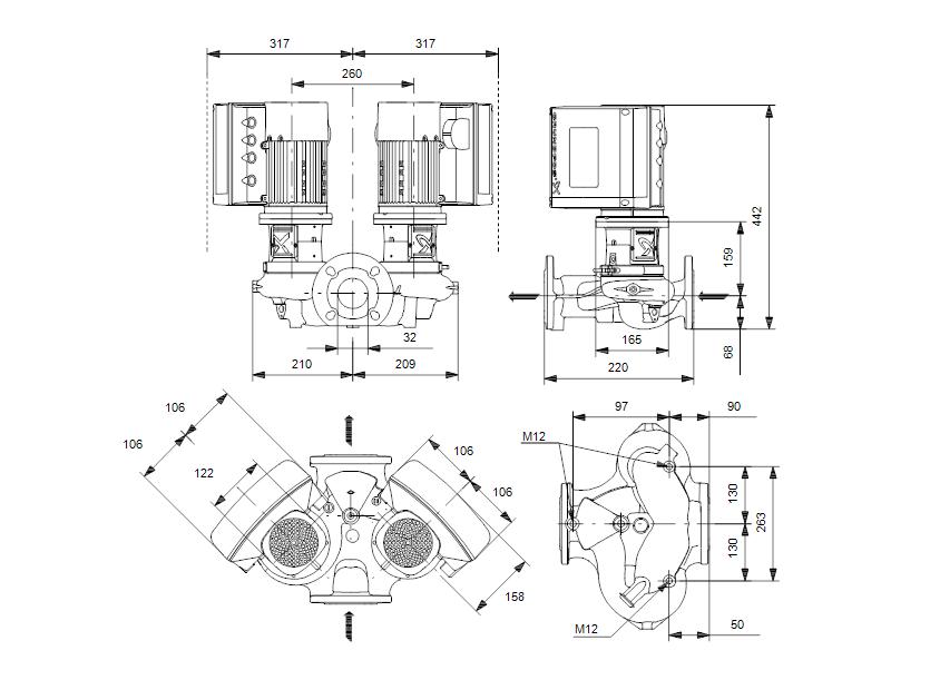 Габаритные размеры насоса Grundfos TPE2 D 32-180-N-A-F-A-BQBE артикул: 99223351