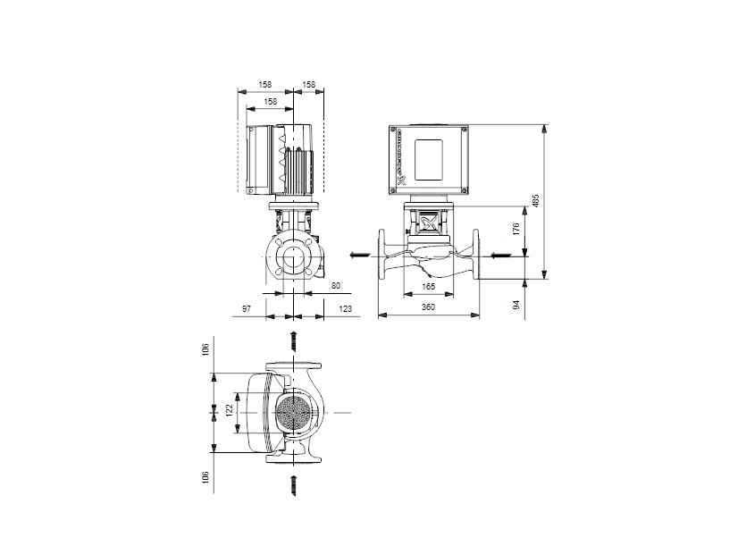 Габаритные размеры насоса Grundfos TPE3 80-40-S A-F-A-BQBE - 99272408 артикул: 99272408
