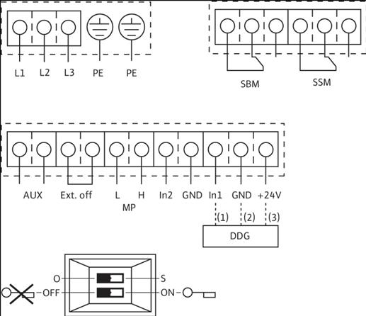 Схема подключений насоса Wilo IL-E 100/250-7,5/4 артикул: 2159325 (2083004)