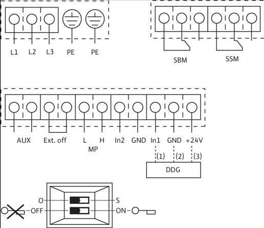 Схема подключений насоса Wilo DL-E 125/210-5,5/4 артикул: 2159422 ((2101958))