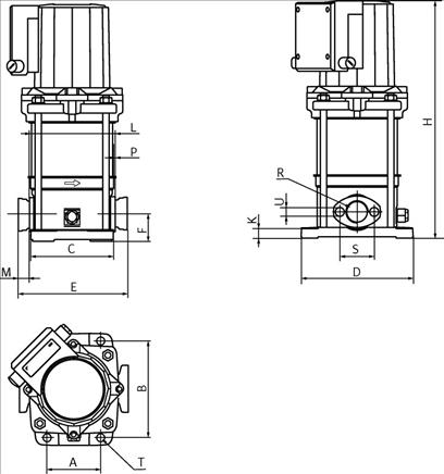 Габаритные размеры насоса Wilo MVIS 208-1/16/K/3-400-50-2 артикул: 2009039()