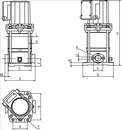 Габаритные размеры насоса Wilo MVIS 210-1/16/K/3-400-50-2 артикул: 2009041()