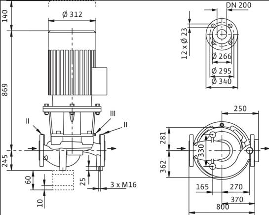 Габаритные размеры насоса Wilo IL 200/260-7,5/6 артикул: 2120941(2088455)