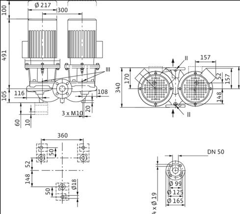 Габаритные размеры насоса Wilo DL 50/130-3/2 артикул: 2121024((2089256))