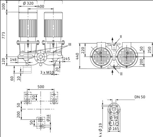 Габаритные размеры насоса Wilo DL 50/220-15/2 артикул: 2121033((2089242))
