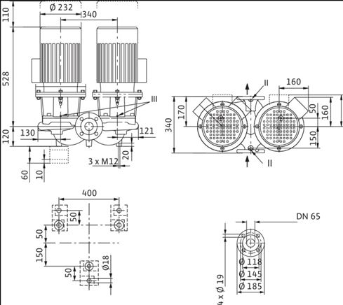 Габаритные размеры насоса Wilo DL 65/120-4/2 артикул: 2121036((2089282))