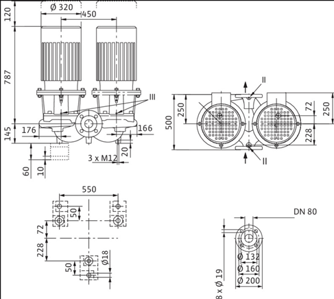 Габаритные размеры насоса Wilo DL 80/190-15/2 артикул: 2121057((2089290))