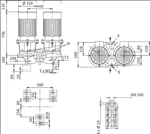 Габаритные размеры насоса Wilo DL 100/150-15/2 артикул: 2121063((2089317))