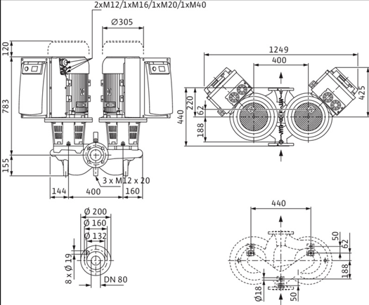 Габаритные размеры насоса Wilo DL-E 80/160-11/2-R1 артикул: 2153882((2114687))