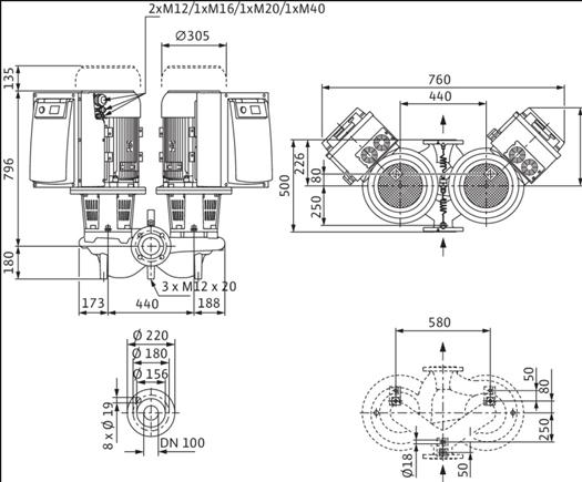 Габаритные размеры насоса Wilo DL-E 100/150-15/2-R1 артикул: 2153887((2114692))