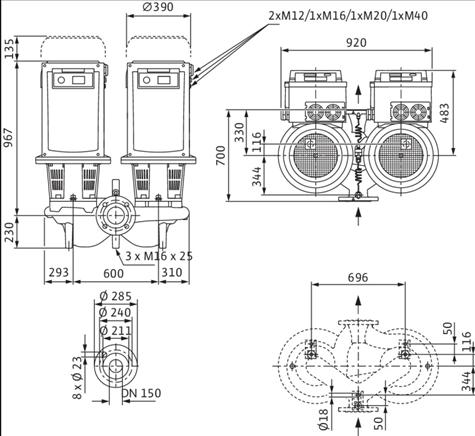 Габаритные размеры насоса Wilo DL-E 150/260-18,5/4-R1 артикул: 2153893((2144421))