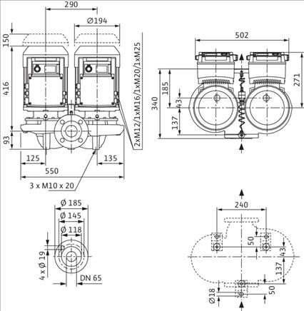Габаритные размеры насоса Wilo DP-E 65/120-3/2 артикул: 2158952((2133265))