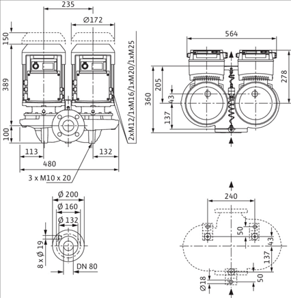 Габаритные размеры насоса Wilo DP-E 80/115-2,2/2-R1 артикул: 2159017((2109828))