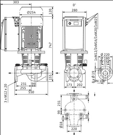 Габаритные размеры насоса Wilo IL-E 100/220-5,5/4 артикул: 2159324(2115542)