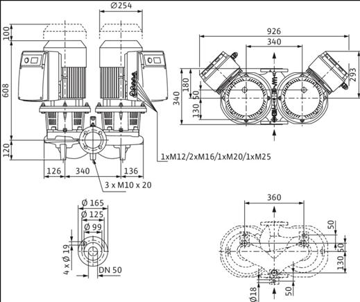 Габаритные размеры насоса Wilo DL-E 50/160-5,5/2-R1 артикул: 2159460((2144418))