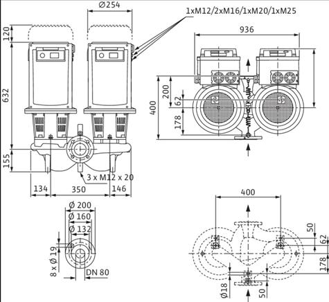 Габаритные размеры насоса Wilo DL-E 80/140-7,5/2-R1 артикул: 2159466((2106647))