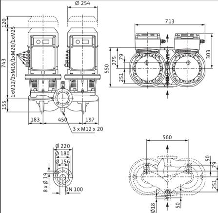 Габаритные размеры насоса Wilo DL-E 100/220-5,5/4-R1 артикул: 2159468((2115563))
