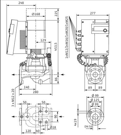 Габаритные размеры насоса Wilo STRATOS GIGA 50/1-44/3,2 артикул: 2170120((2117136))