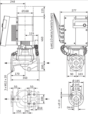 Габаритные размеры насоса Wilo STRATOS GIGA 65/1-21/2,3 артикул: 2170126((2117142))