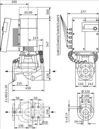 Габаритные размеры насоса Wilo STRATOS GIGA 100/1-33/6,0 артикул: 2170136((2117152))