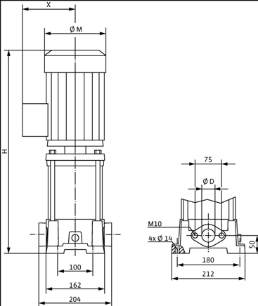 Габаритные размеры насоса Wilo MVIL 308-16/E/1-230-50-2 артикул: 4087825()