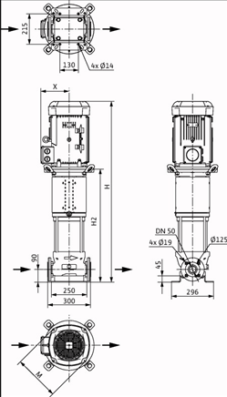 Габаритные размеры насоса Wilo HELIX V 2206-2/16/V/KS/400-50 артикул: 4139781()