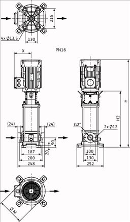Габаритные размеры насоса Wilo HELIX V 1602-1/16/E/KS/400-50 артикул: 4141145()