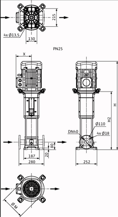 Габаритные размеры насоса Wilo HELIX V 1007-2/25/V/KS/400-50 артикул: 4150580()