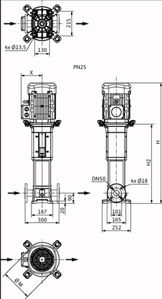 Габаритные размеры насоса Wilo HELIX V 1613-2/25/V/KS/400-50 артикул: 4150672()