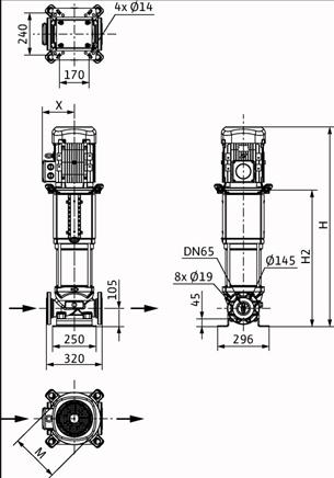 Габаритные размеры насоса Wilo HELIX V 3608-2/25/V/KS/400-50 артикул: 4150770()