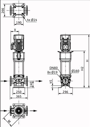 Габаритные размеры насоса Wilo HELIX V 5201/1-2/16/V/KS/400-50 артикул: 4150900()