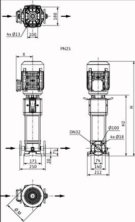 Габаритные размеры насоса Wilo HELIX V 627-1/25/E/KS/400-50 артикул: 4156061()