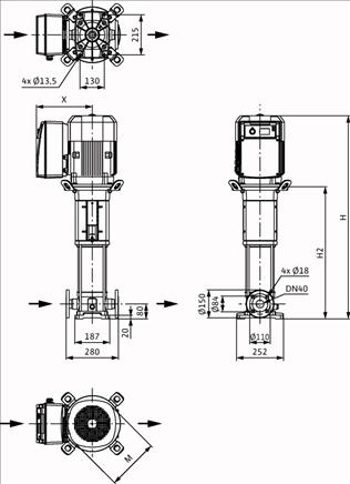 Габаритные размеры насоса Wilo HELIX VE 1012-1/25/E/KS артикул: 4161314()