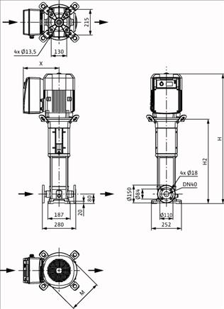 Габаритные размеры насоса Wilo HELIX VE 1002-2/25/V/KS артикул: 4161316()