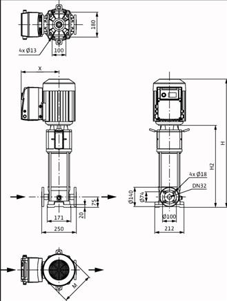Габаритные размеры насоса Wilo HELIX VE 615-2/25/V/KS артикул: 4161435()