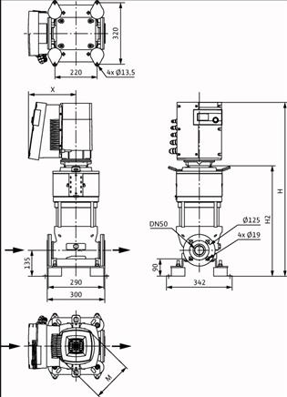 Габаритные размеры насоса Wilo HELIX EXCEL 2202-2/16/V/KS артикул: 4162485()