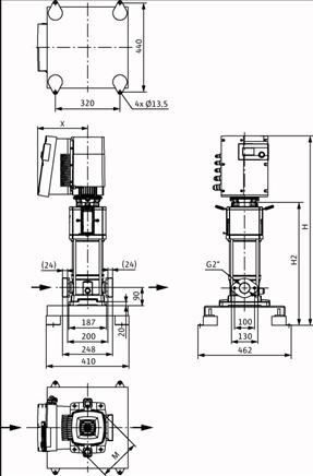 Габаритные размеры насоса Wilo HELIX EXCEL 1602-1/16/E/KS артикул: 4162488()