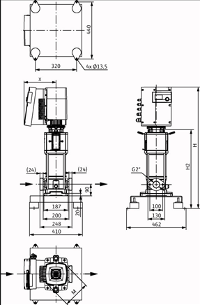 Габаритные размеры насоса Wilo HELIX EXCEL 1603-1/16/E/KS артикул: 4162494()