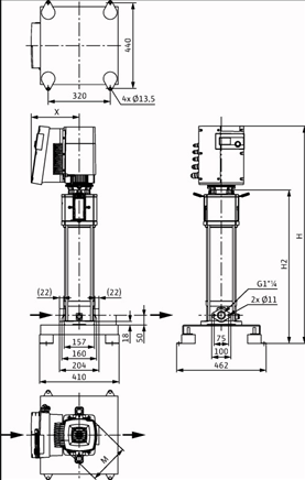 Габаритные размеры насоса Wilo HELIX EXCEL 609-1/16/E/KS артикул: 4162522()