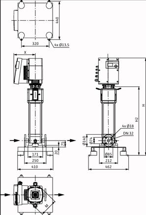 Габаритные размеры насоса Wilo HELIX EXCEL 609-1/25/E/KS артикул: 4162528()