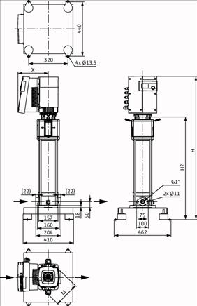 Габаритные размеры насоса Wilo HELIX EXCEL 410-1/16/E/KS артикул: 4162530()