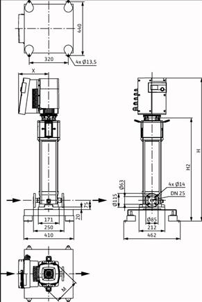 Габаритные размеры насоса Wilo HELIX EXCEL 222-1/25/E/KS артикул: 4162550()